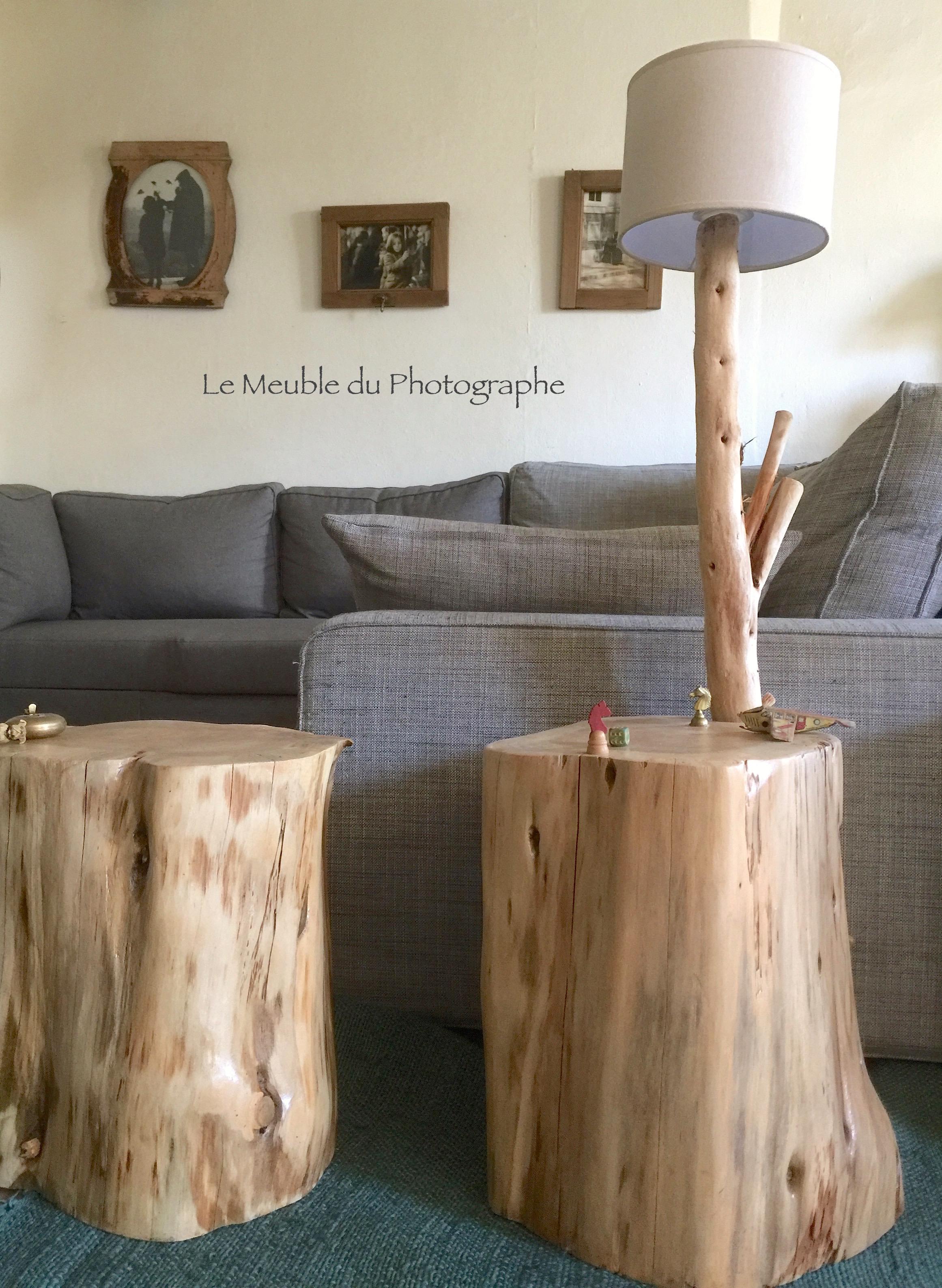 Rondin De Bois Table De Chevet rondin d'appoint n°2 35x40cm (peut être agrémenté d'une lampe)