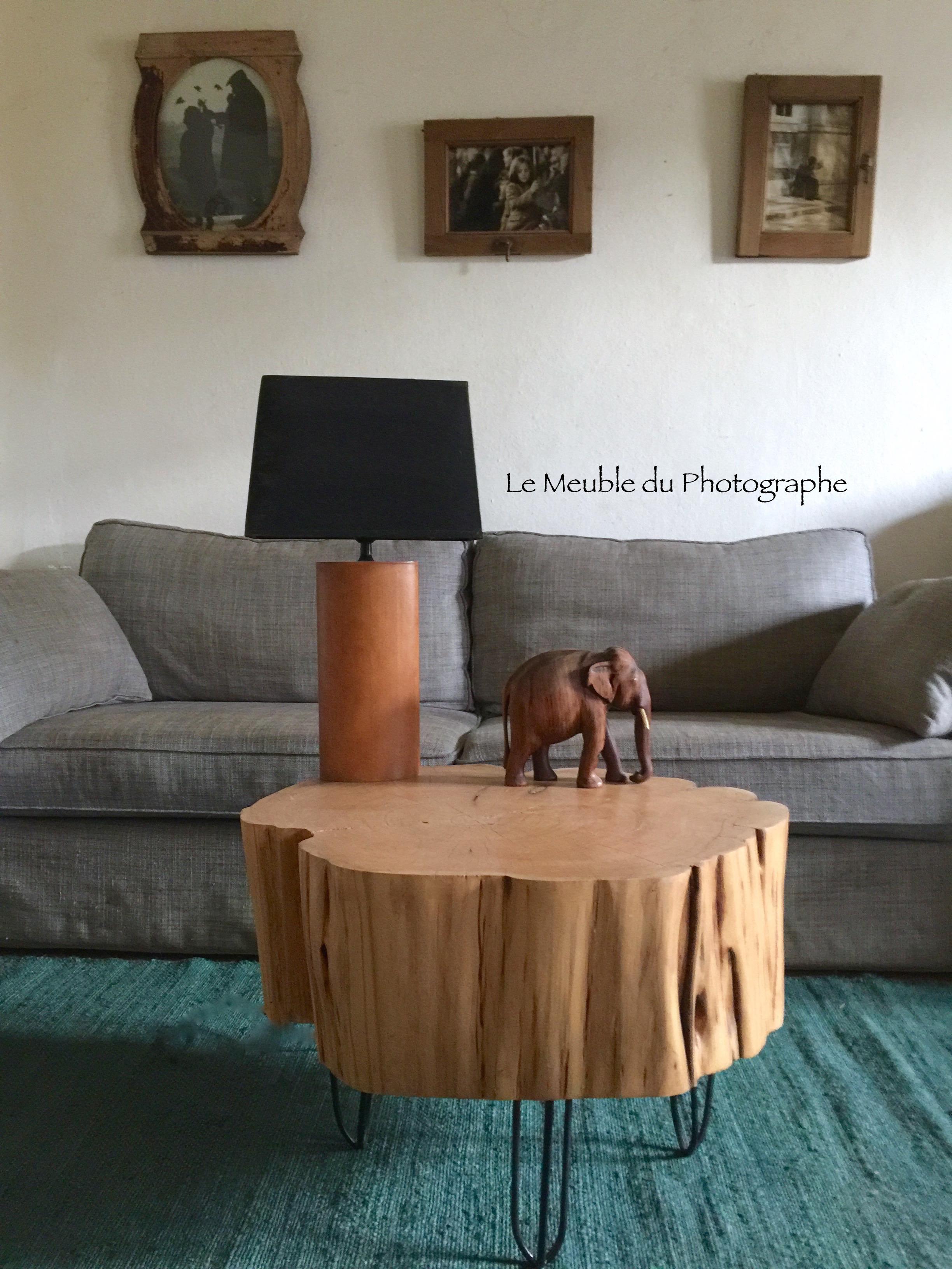 Table Basse Avec Souche D Arbre table basse rondin 60cm diamètre sur hairpin legs - reservee