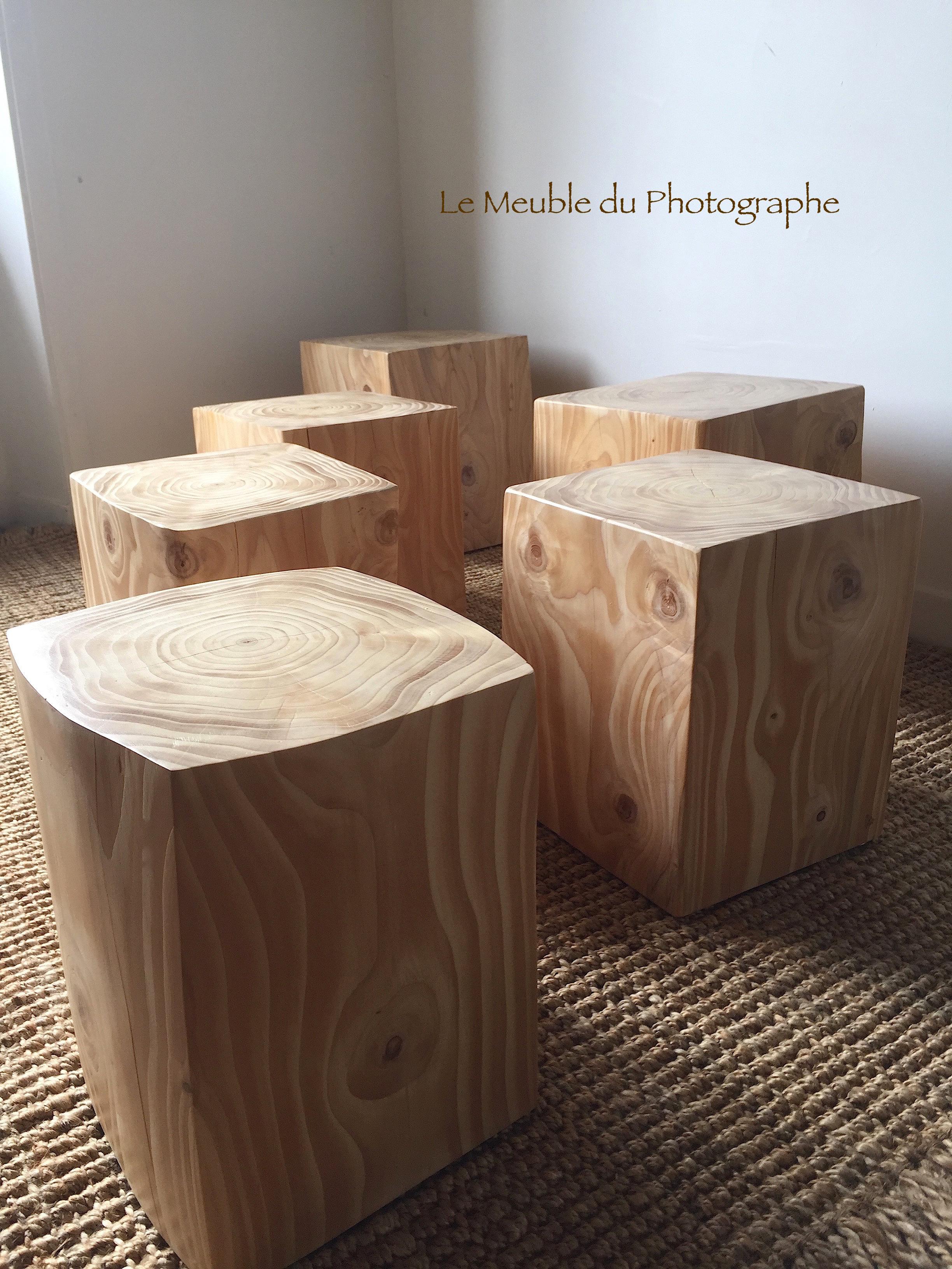 Rondin De Bois Table De Chevet rondin cube en table d'appoint 32x32cm x 40cm