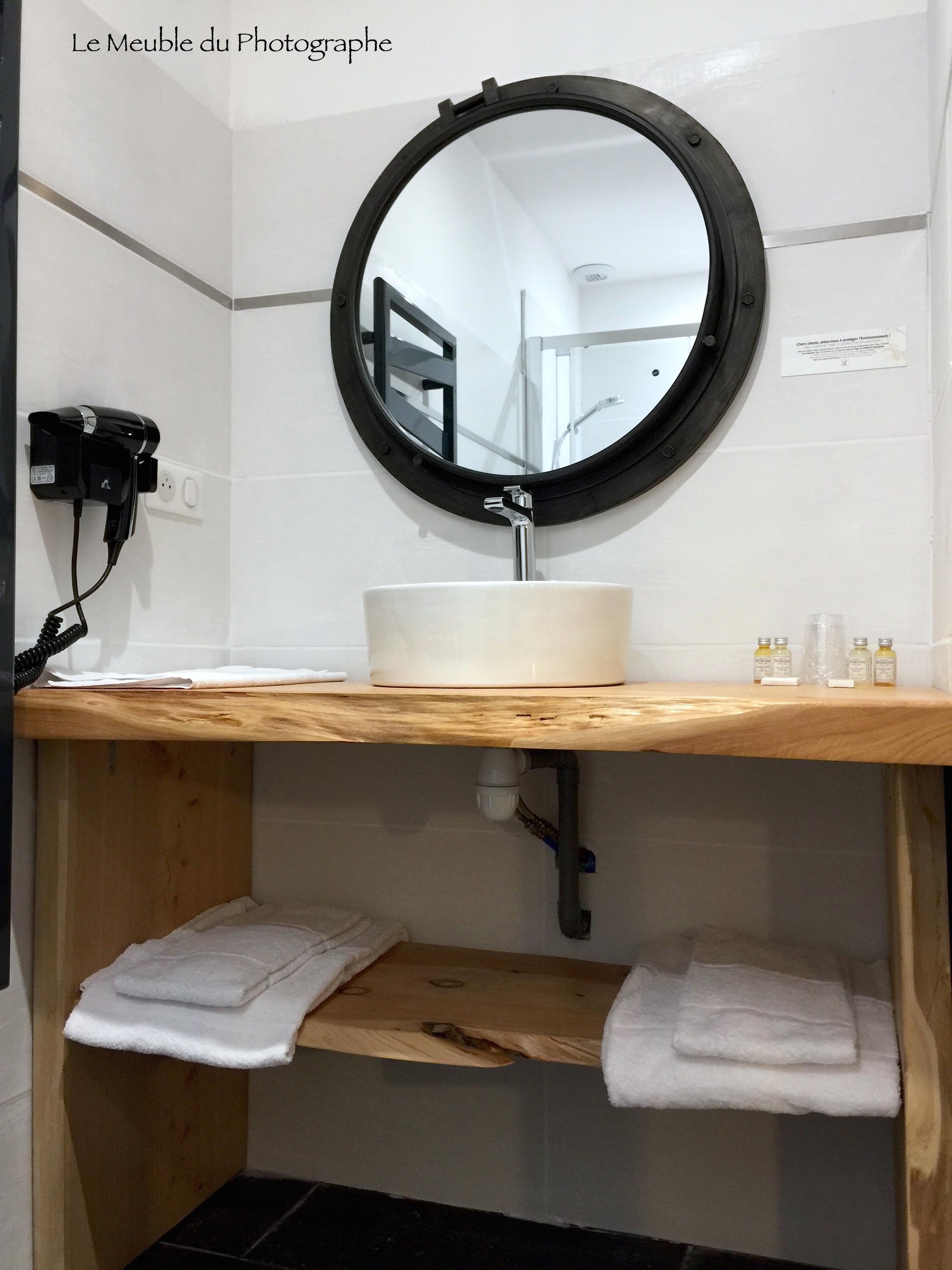 Meuble bois sous vasque salle de bain