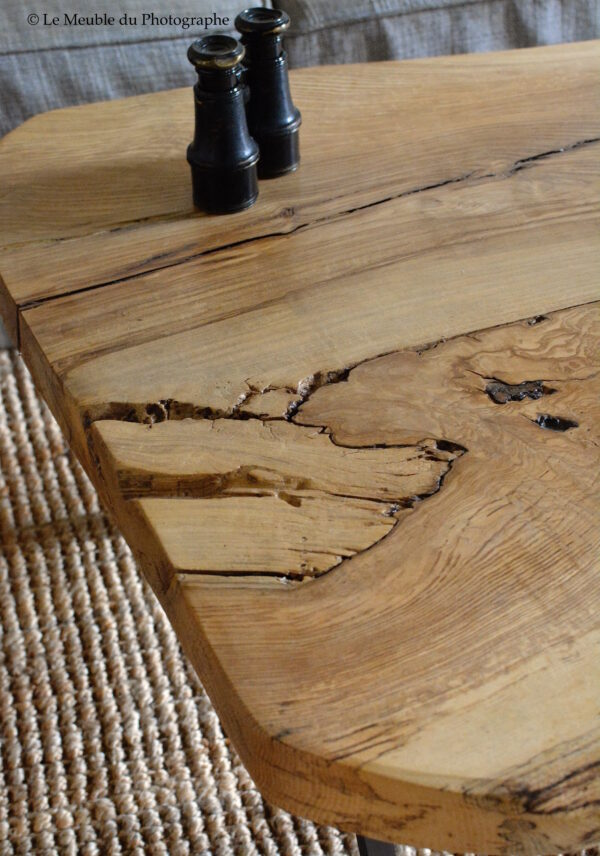 détail table basse frêne bois massif